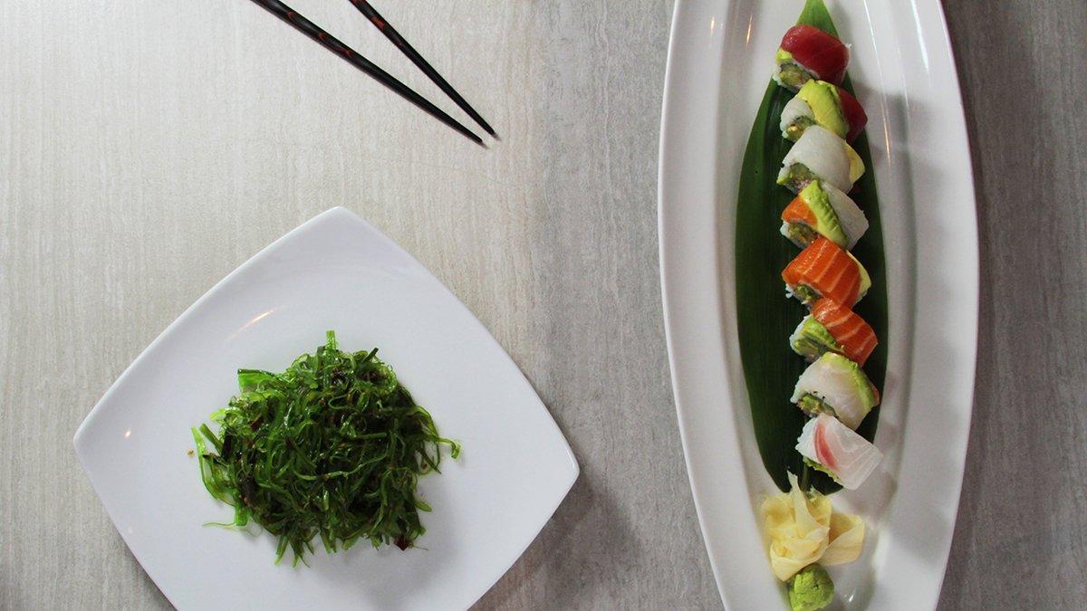 Rainbow Roll with Seaweed Salad